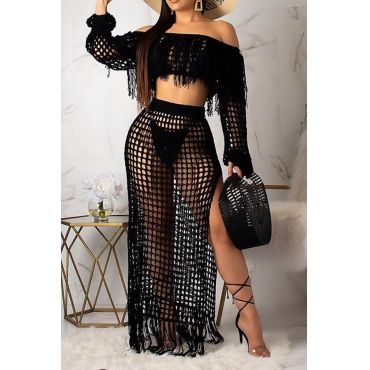 Lovely Bohemian See-through Black Beach Skirt Set