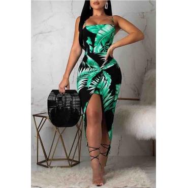 Lovely Sweet Asymmetrical Green Ankle Length Dress