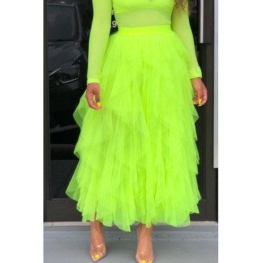 Lovely Trendy Multi-layered Green Skirt