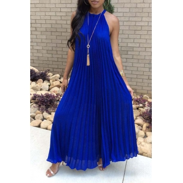 Lovely Casual Drape Design Blue Maxi Dress