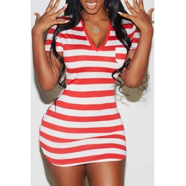 Lovely Casual Striped Red Mini Dress