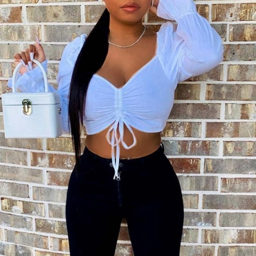 Lovely Chic Crop Top White Blouse