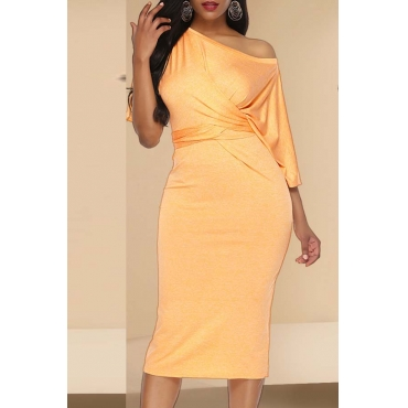 Lovely Casual Fold Design Yellow Mid Calf Dress