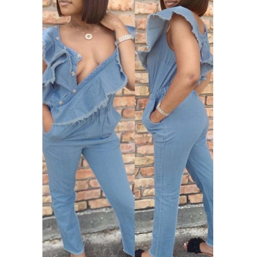 Lovely Chic Flounce Design Blue One-piece Jumpsuit