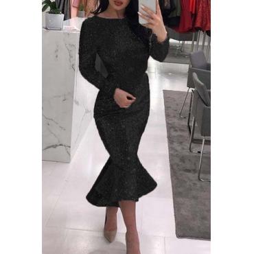 Lovely Sweet Flounce Design Black Ankle Length Dress