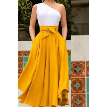 Lovely Casual One Shoulder Yellow Ankle Length Dress