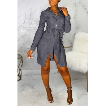 Lovely Casual Buttons Design Dark Grey Knee Length Dress