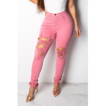 Lovely Trendy Broken Holes Pink Jeans