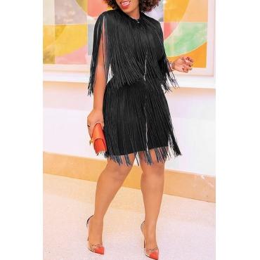 Lovely Sexy Tassel Design Black Plus Size Mini Dress