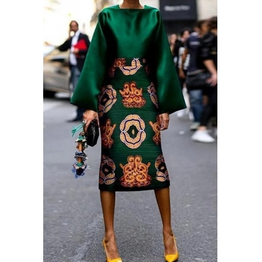 Lovely Chic Print Green Mid Calf Plus Size Dress