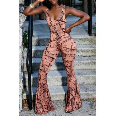 Lovely Chic Print Dusty Pink One-piece Jumpsuit