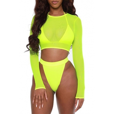 Lovely See-through Yellow Two-piece Swimsuit