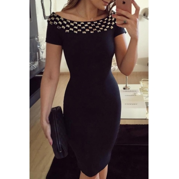 Lovely Chic Patchwork Black Ankle Length Dress