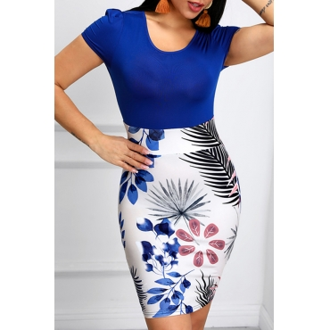 Lovely Leisure Patchwork Print Blue Knee Length Dress