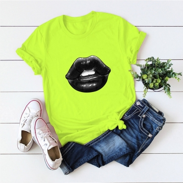 Lovely Casual Lip Print Green T-shirt