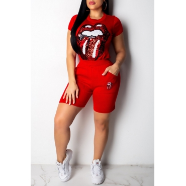 Lovely Trendy Lip Print Red Two-piece Shorts Set