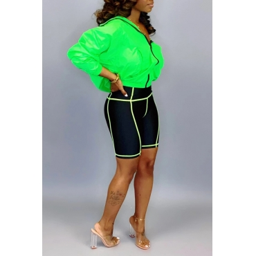Lovely Casual Turndown Collar Zipper Design Green Two-piece Shorts Set