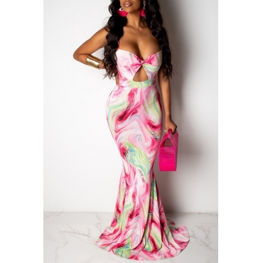 Lovely Casual Sleeveless Printed Pink Maxi Dress
