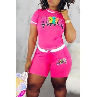 Lovely Stylish Print Pink Two-piece Shorts Set