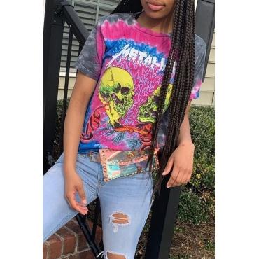 Lovely Chic Basic Print Multicolor  T-shirt