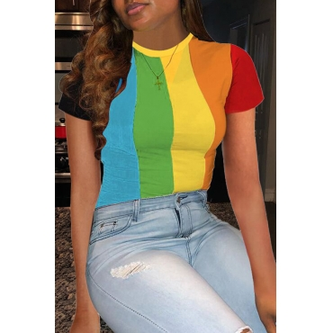 Lovely Chic Rainbow Striped Green T-shirt