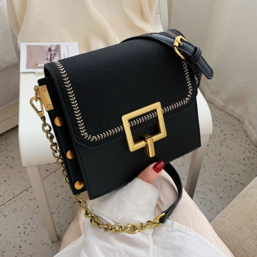 Lovely Vintage Patchwork Black Crossbody Bag
