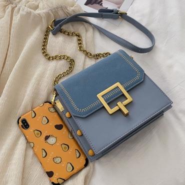 Lovely Vintage Patchwork Blue Crossbody Bag
