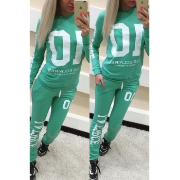 Lovely Casual Letter Print Green Two-piece Pants Set