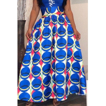 Lovely Chic Print Loose Blue Skirt