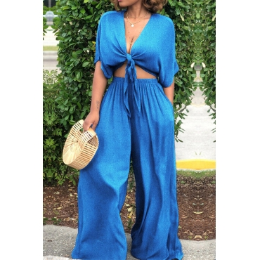 Lovely Trendy Loose Baby Blue Two-piece Pants Set