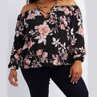 Lovely Chic Floral Print Black Plus Size Blouse