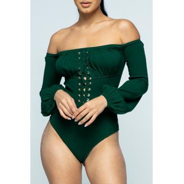 Lovely Sweet Dew Shoulder Green Bodysuit