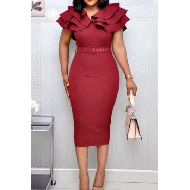 Lovely Sweet V Neck Flounce Wine Red Knee Length Dress