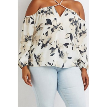 Lovely Casual V Neck Print White Plus Size Blouse