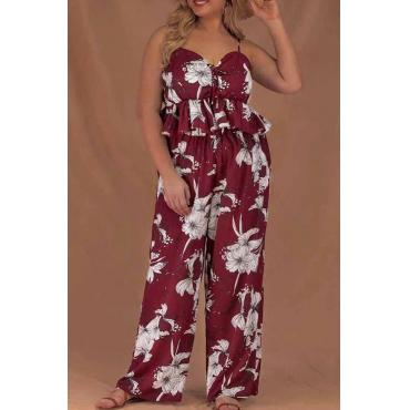 Lovely Casual Print Wine Red Plus Size Two-piece Pants Set