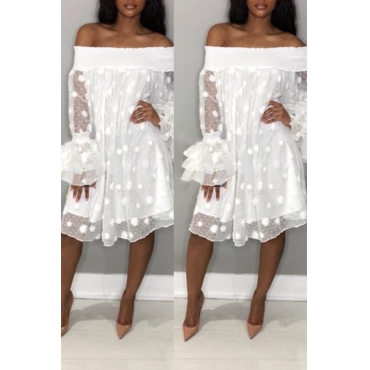 Lovely Stylish Off The Shoulder Horn Sleeve White Knee Length Dress