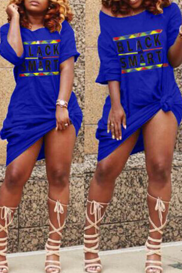 Daily Dress Lovely Casual Letter Print Royal Blue Knee Length T-shirt Dress фото