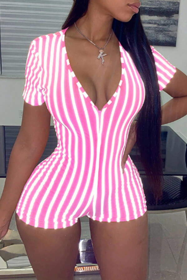 Lovely Chic Striped Skinny Pink One-piece Romper