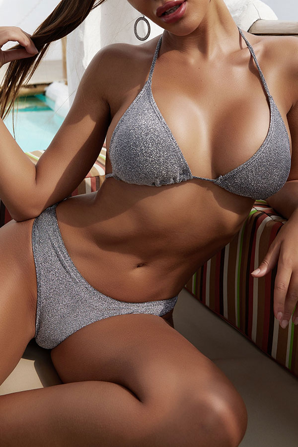 Lovely Lace-up Silver Two-piece Swimsuit