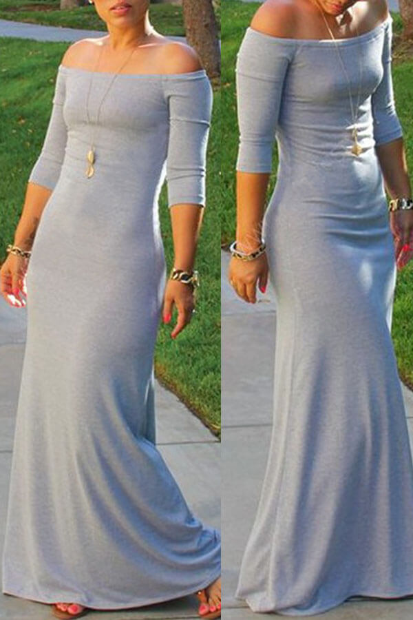 Lovely Bohemian Dew Shoulder Light Grey Maxi Dress
