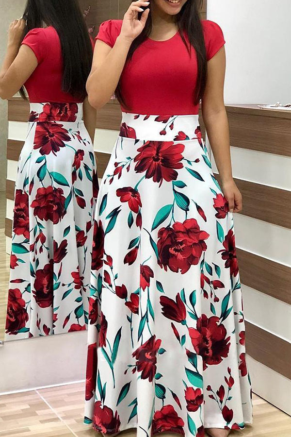 Daily Dress Lovely Casual Floral Print White Maxi Dress фото