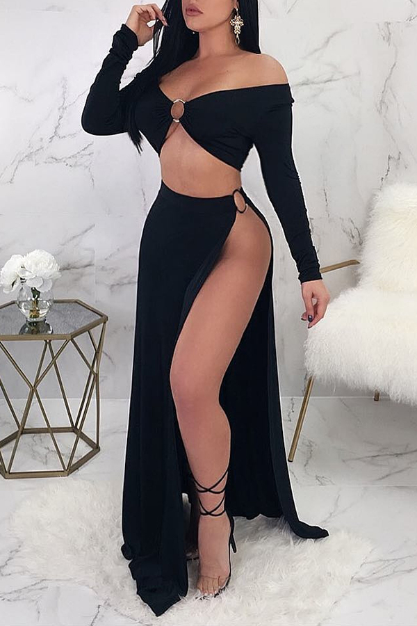 Lovely Casual Slit Black Two-piece Skirt Set