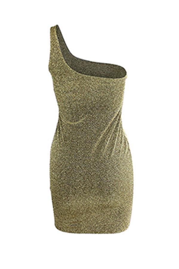 Lovely Chic One Shoulder Skinny Gold Mini Dress