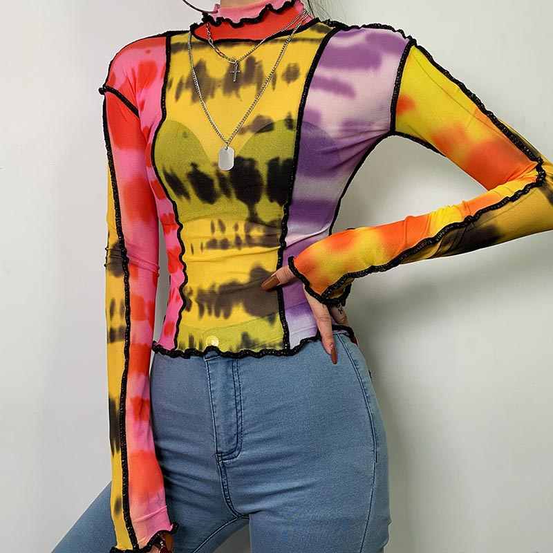 Lovely Casual Turtleneck Patchwork Multicolor Blouse