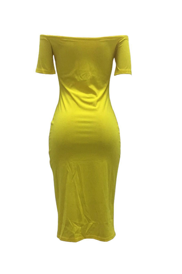 Lovely Casual Letter Print Yellow Mid Calf Dress