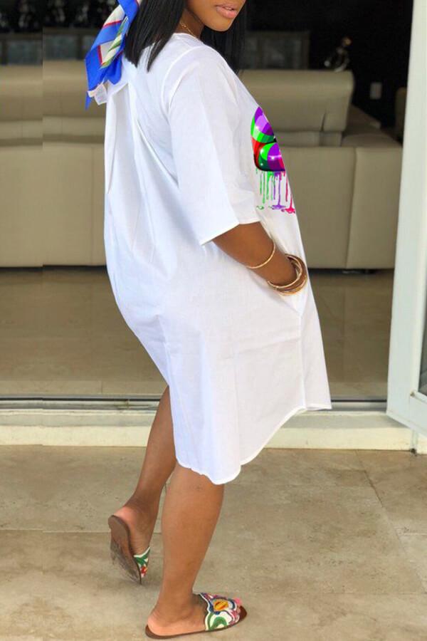 Lovely Casual Lip Print White Knee Length Dress