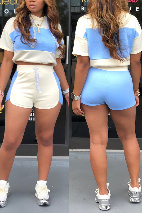 Lovely Chic Patchwork Sky Blue Two-piece Shorts Set фото