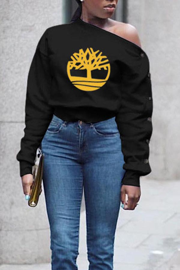 Lovely Casual Print Black Sweatshirt Hoodie