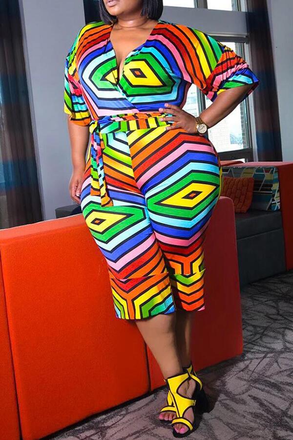 Lovely Trendy Rainbow Print Multicolor Plus Size One-piece Jumpsuit