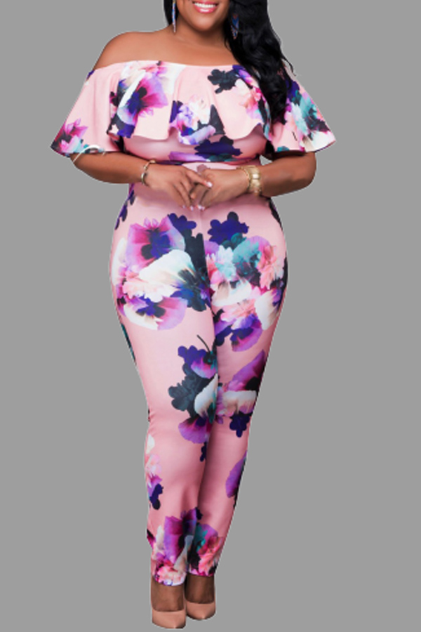 Lovely Casual Print Pink Plus Size One-piece Jumpsuit